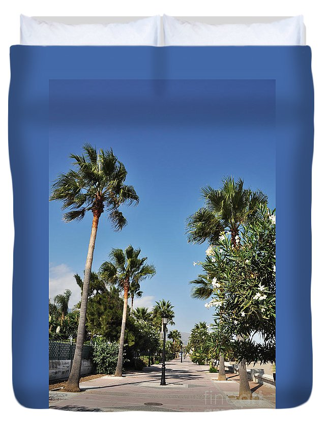 Sidewalk Duvet Cover featuring the photograph Beach Sidewalk by Luis Alvarenga