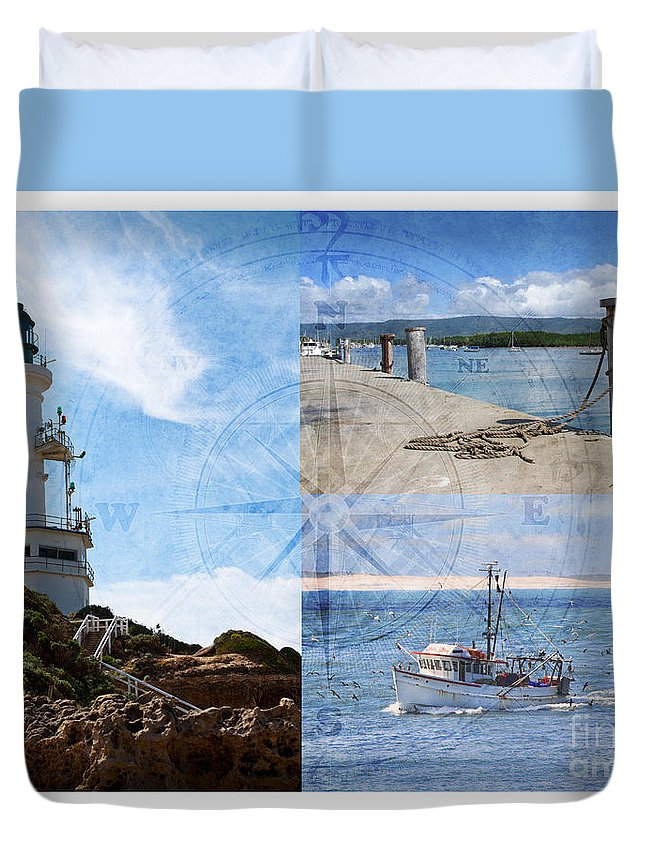 Fishing Duvet Cover featuring the photograph Beach Triptych 2 by Linda Lees