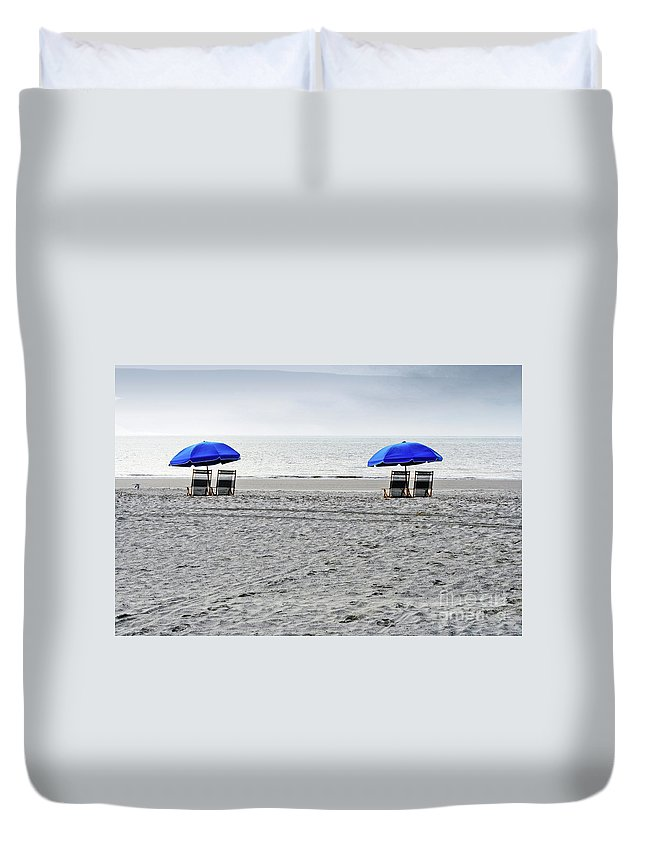 Hilton Head Duvet Cover featuring the photograph Beach Umbrellas On A Cloudy Day by Thomas Marchessault