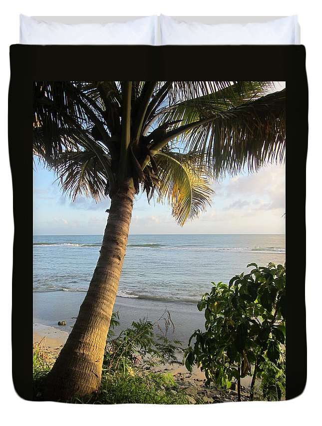 Beach Duvet Cover featuring the photograph Beach Under The Palm 4 by Anita Burgermeister