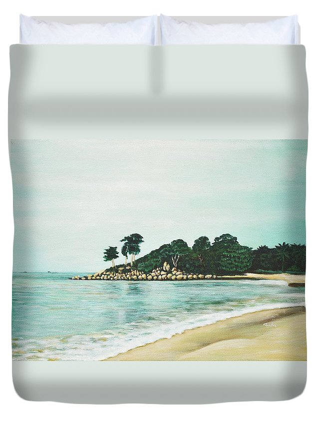 Beach Duvet Cover featuring the painting Beach by Usha Shantharam