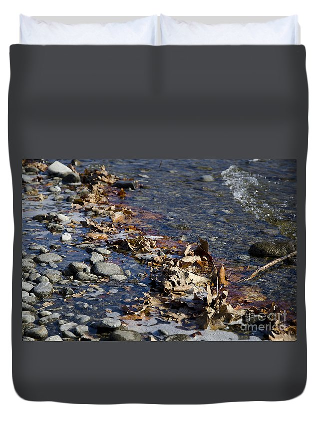 Stone Duvet Cover featuring the photograph Beach With Stones by Mats Silvan