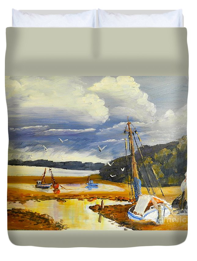 Impressionism Duvet Cover featuring the painting Beached Boat And Fishing Boat At Gippsland Lake by Pamela Meredith