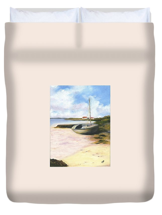 Beach Duvet Cover featuring the painting Beached by Deborah Butts