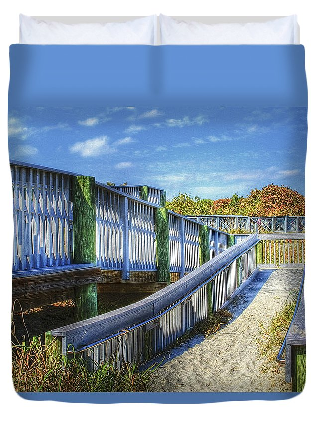 Clouds Duvet Cover featuring the photograph Beachwalk by Debra and Dave Vanderlaan