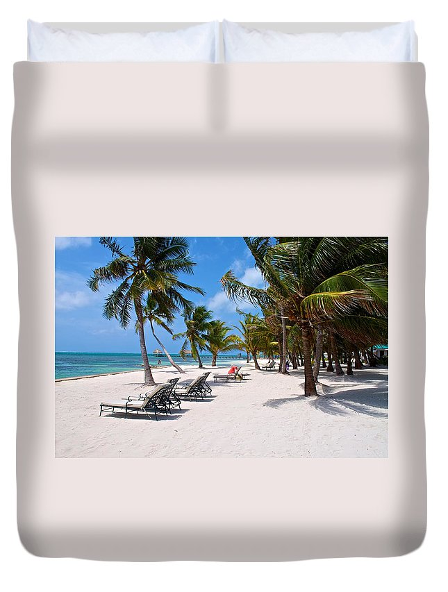 Beach Duvet Cover featuring the photograph Beachy Belize by Kristina Deane