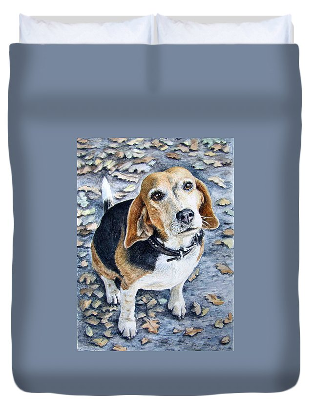 Dog Duvet Cover featuring the painting Beagle In Autumn by Nicole Zeug