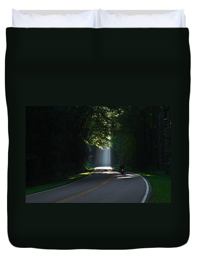 Reid Callaway Motorcycle Duvet Cover featuring the photograph Beam Me Up The Great Smoky Mountains by Reid Callaway