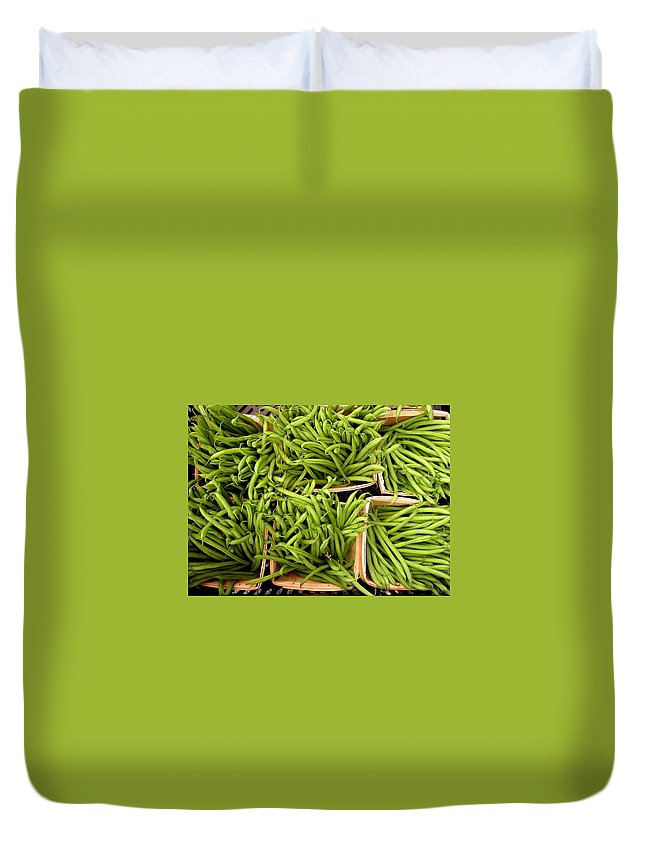 Green Beans Duvet Cover featuring the photograph Beans Of Green by Cynthia Wallentine