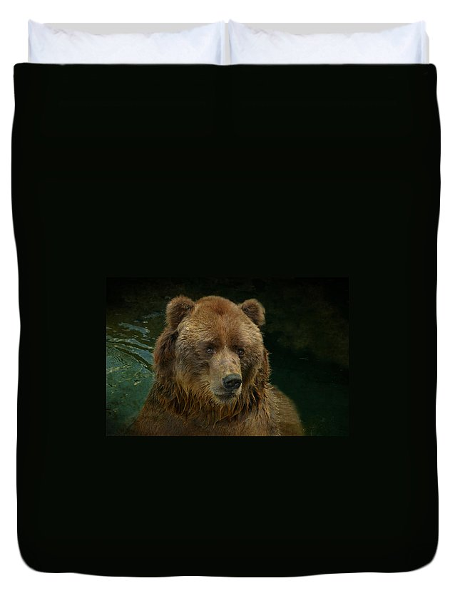 Bear Duvet Cover featuring the photograph Bear In The Pool by Guna Andersone