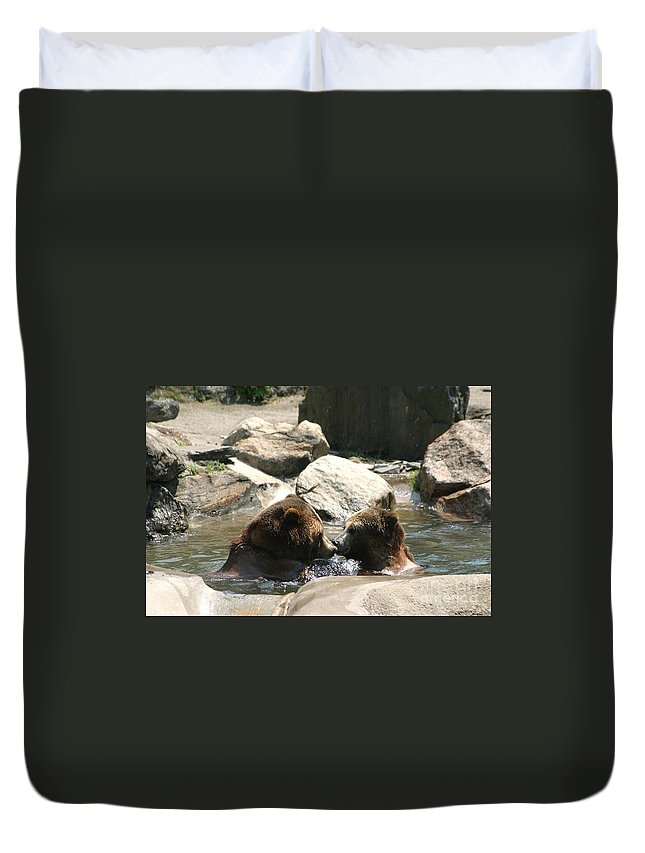 Bears Duvet Cover featuring the photograph Bear Smooches by Living Color Photography Lorraine Lynch