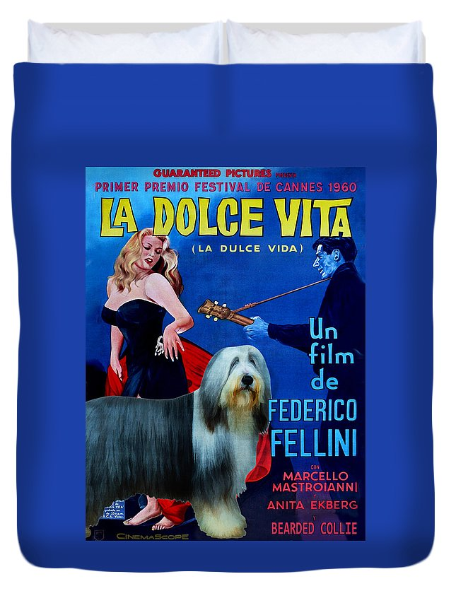 Bearded Collie Duvet Cover featuring the painting Bearded Collie Art Canvas Print - La Dolce Vita Movie Poster by Sandra Sij