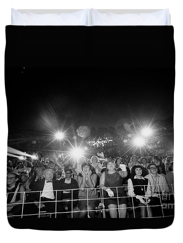 History Duvet Cover featuring the photograph Beatles Fans At Concert, 1964 by Larry Mulvehill