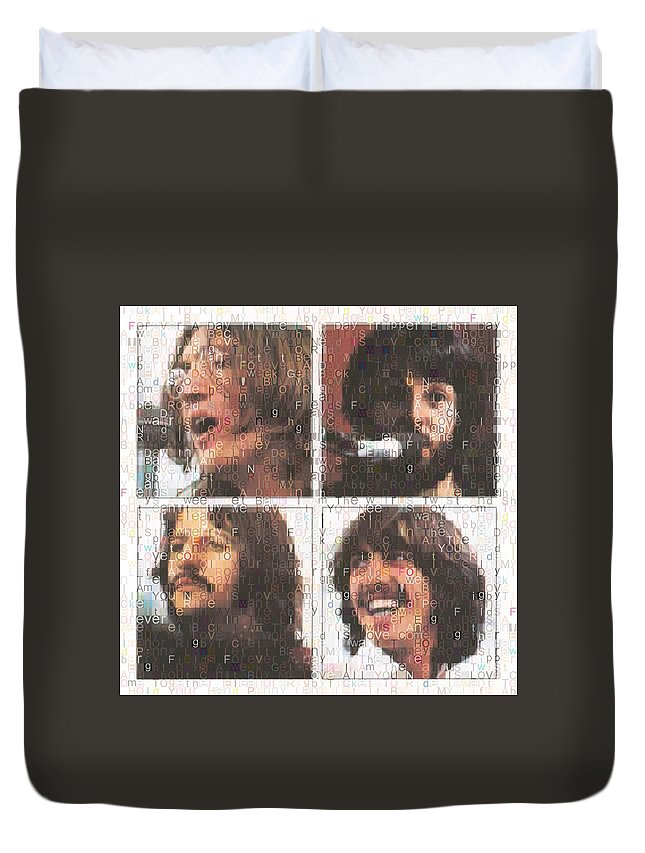 Beatles Songs Typography Duvet Cover featuring the digital art Beatles Songs Typography by Dan Sproul