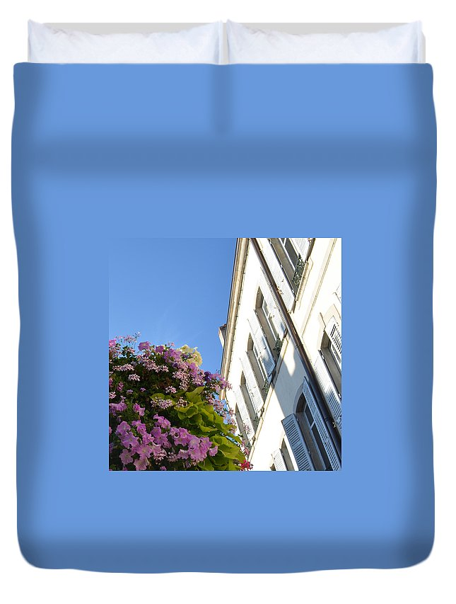 Beaune Duvet Cover featuring the photograph Windows With Flowers by Cheryl Miller