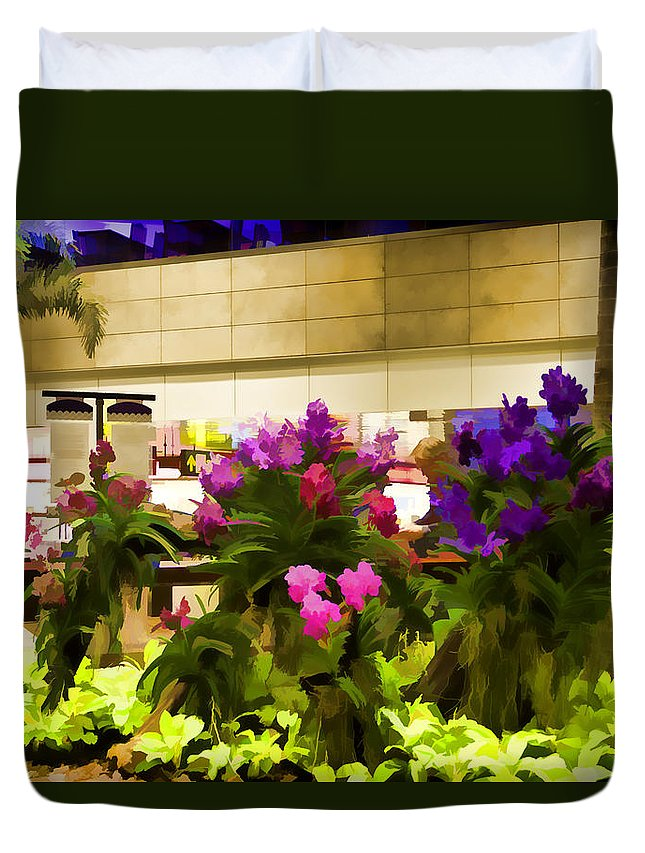 Airport Duvet Cover featuring the photograph Beautiful Flowers Inside The Changi Airport by Ashish Agarwal