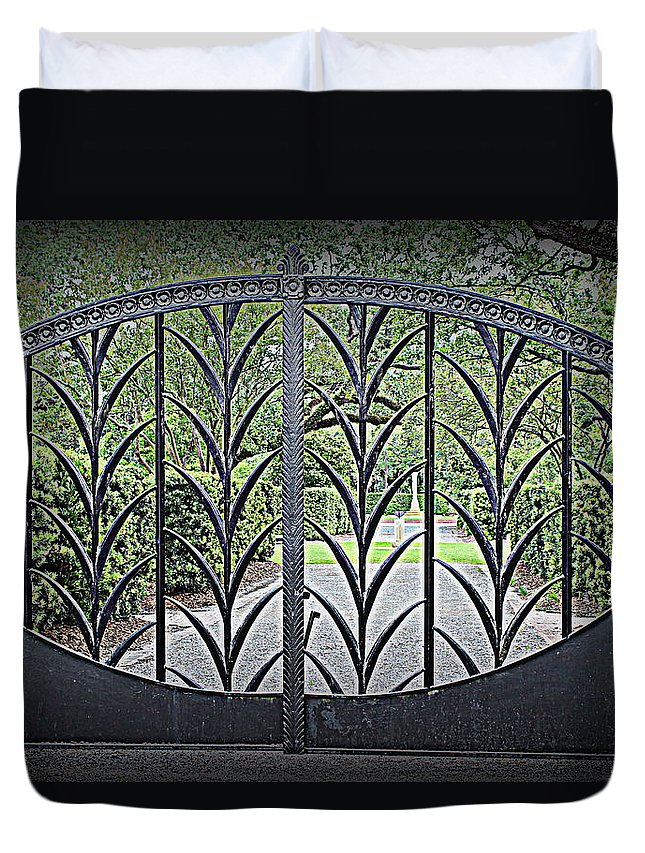 Beautiful Gate Duvet Cover featuring the photograph Beautiful Gate by Beth Vincent
