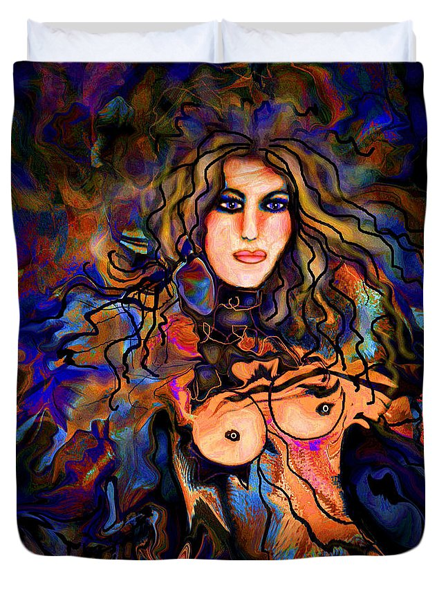 Nude Duvet Cover featuring the mixed media Beautiful Goddess by Natalie Holland
