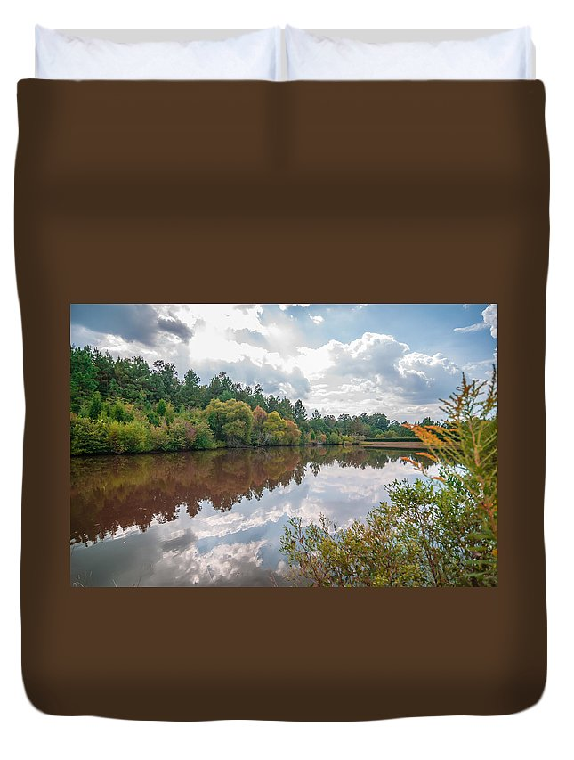 Autumn Duvet Cover featuring the photograph Beautiful Lake Reflections by Alex Grichenko