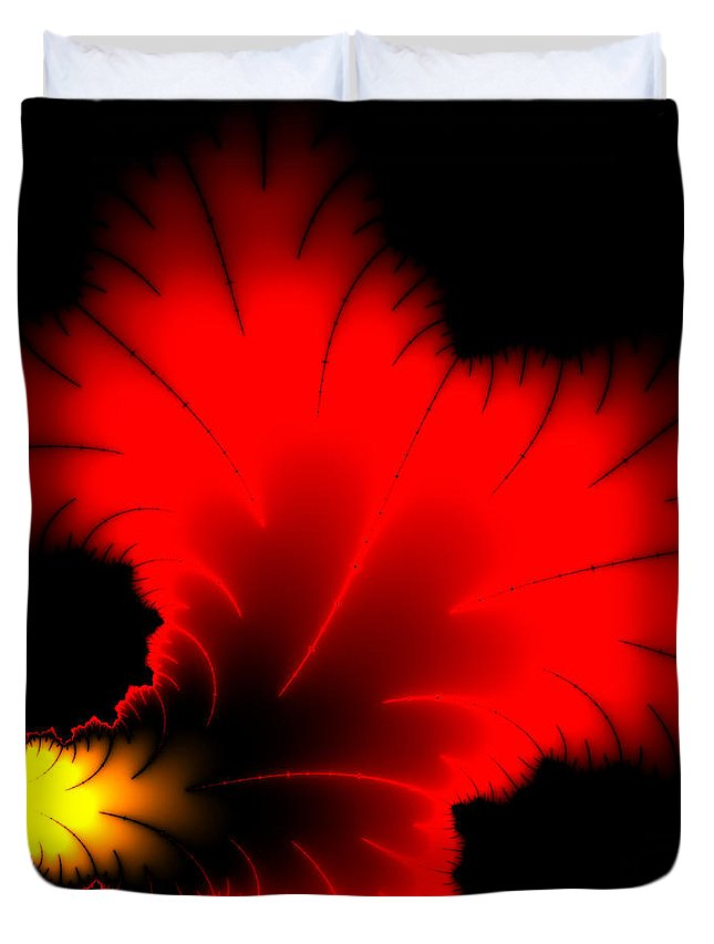 Red Duvet Cover featuring the digital art Beautiful Red And Yellow Floral Fractal Artwork Square Format by Matthias Hauser