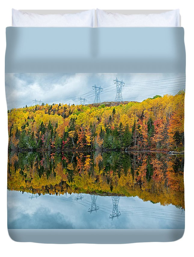 Autumn Duvet Cover featuring the photograph Beautiful Reflections Of A Autumn Forest In A Lake by U Schade