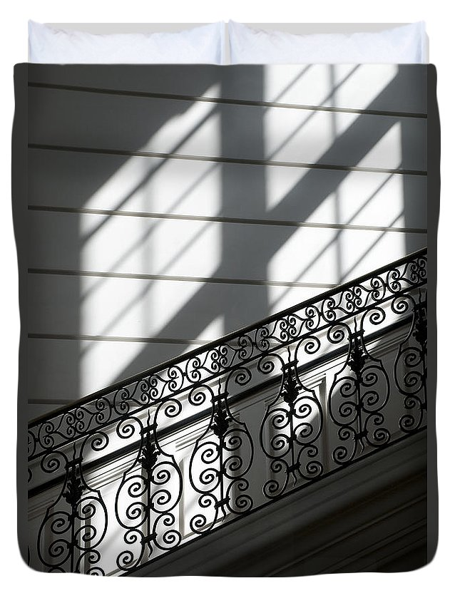 Wrought Iron Duvet Cover featuring the photograph Beautiful Staircase by Lana Enderle