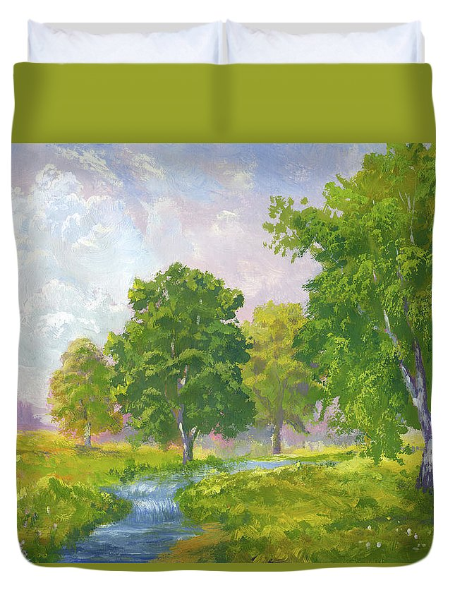 Scenics Duvet Cover featuring the digital art Beautiful Summer by Pobytov