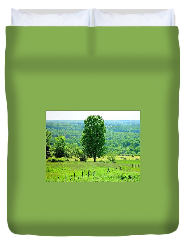 Beautiful Summer Scene Duvet Cover featuring the painting Beautiful Pennsylvania Summer Scene - Colorful Landscape - Painting Like by James Scott Preston