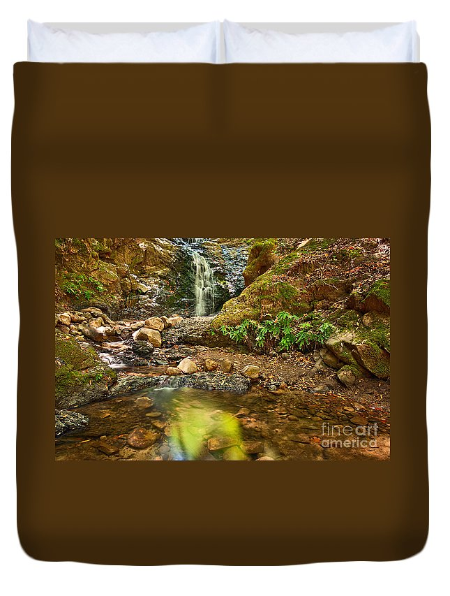 Uvas Canyon County Park; Upper Falls; Waterfall; Waterfalls; Reflection; Pool; Lake; Forest; Fern; Ferns; Secluded; Peaceful; Tranquil; Flow; Flowing; Peaceful Duvet Cover featuring the photograph Beautiful View Of Upper Falls Located In Uvas Canyon County Park. by Jamie Pham