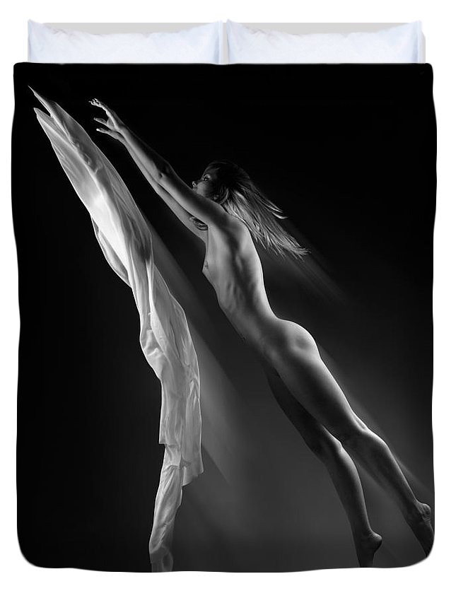 Woman Duvet Cover featuring the photograph Beautiful Woman Flying Towards The Light by Oleksiy Maksymenko