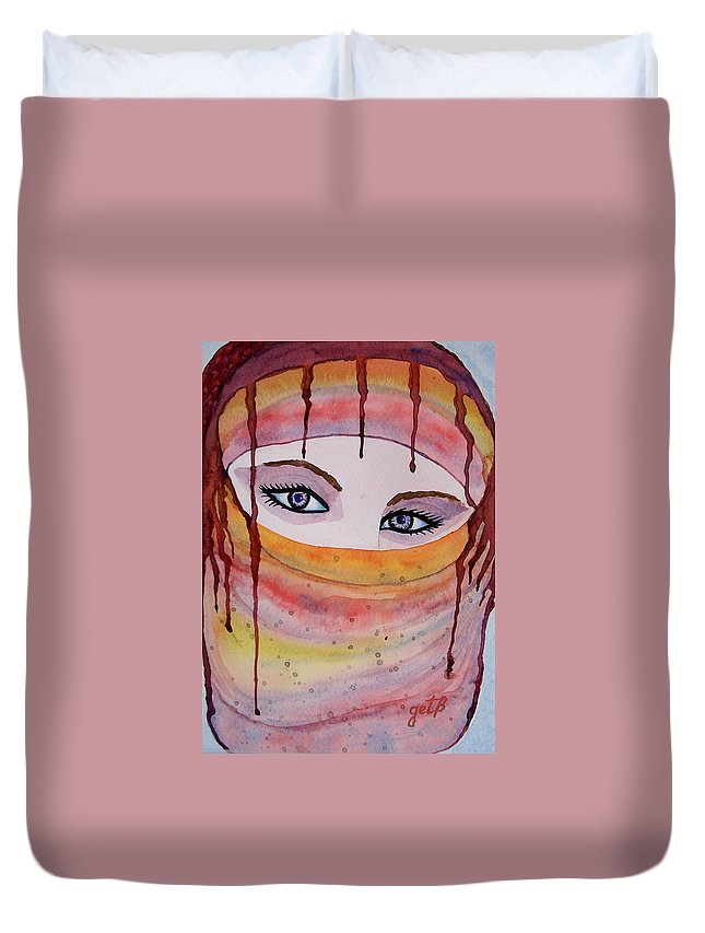 Midlle Eastern Woman Duvet Cover featuring the painting Beautiful Woman With Niqab Watercolor Painting by Georgeta Blanaru