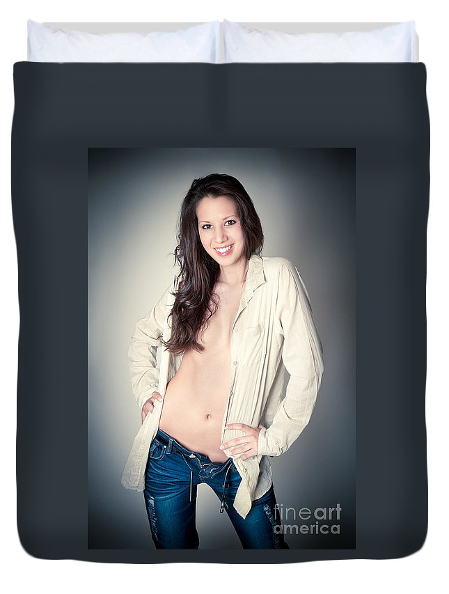 Woman Duvet Cover featuring the photograph Beautiful Young Woman by Jochen Schoenfeld