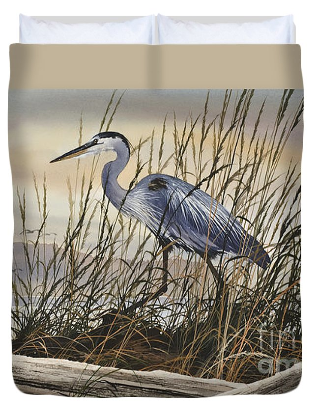 Heron Fine Art Prints Duvet Cover featuring the painting Beauty Along The Shore by James Williamson