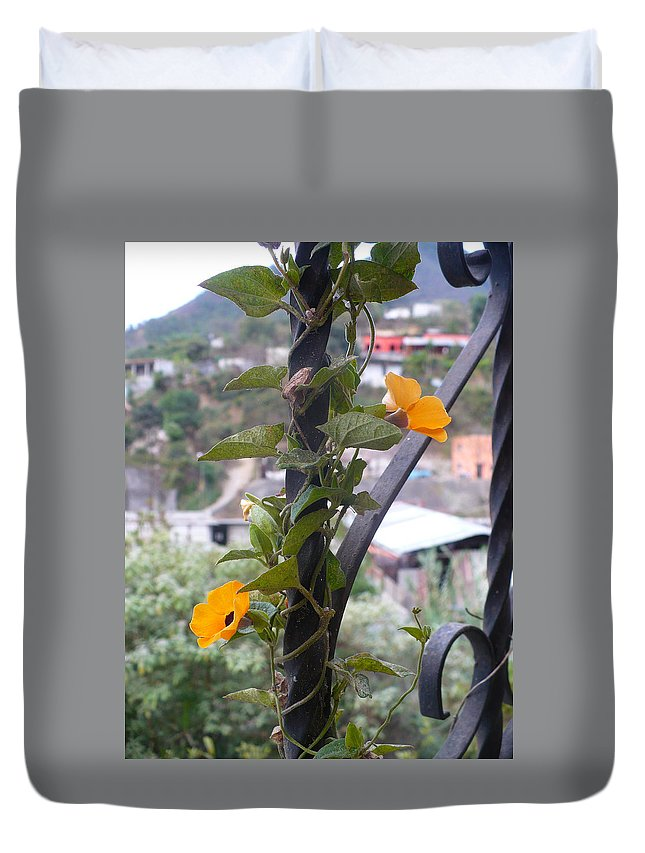 Flower Duvet Cover featuring the photograph Beauty Among Poverty by Nicki Bennett