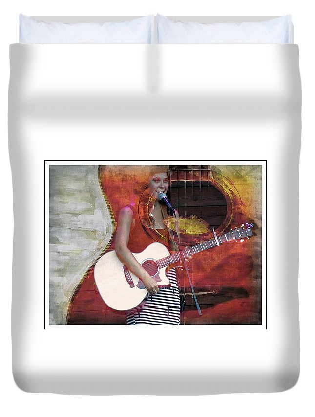 Beauty Duvet Cover featuring the photograph Beauty And Her Guitar by Alice Gipson