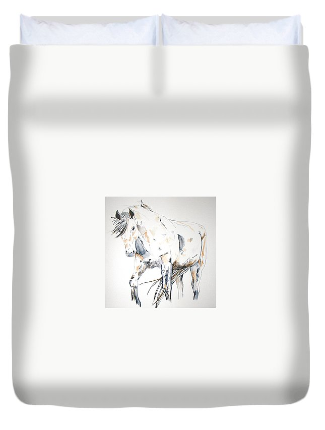 Horse Duvet Cover featuring the painting Beauty by Crystal Hubbard