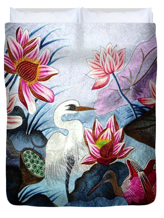 Lotus Duvet Cover featuring the tapestry - textile Beauty Of The Lake Hand Embroidery by To-Tam Gerwe