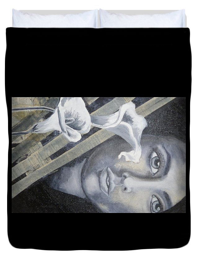 Mixed Media Duvet Cover featuring the mixed media Beauty by Shannon Elizabeth