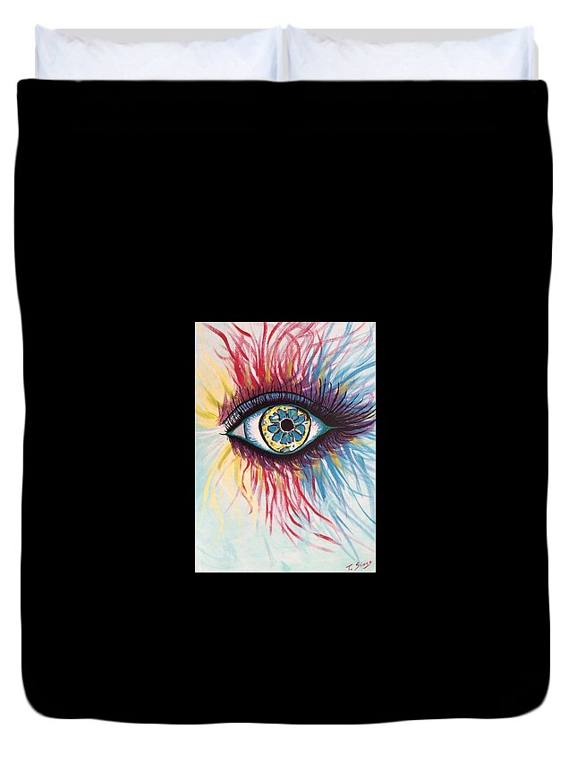 Eye Duvet Cover featuring the painting Beauty Within by Theresa Simos