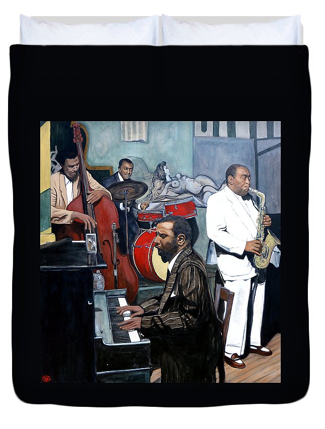 Musicans Duvet Cover featuring the painting BeBop 'Til You Drop by Tom Roderick