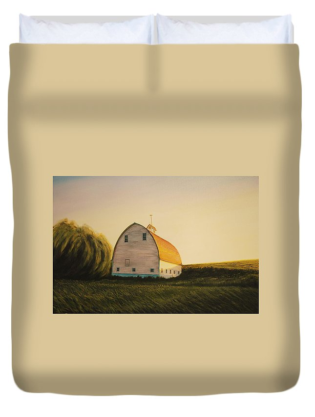 Landscape Duvet Cover featuring the painting Becker Barn by Leonard Heid