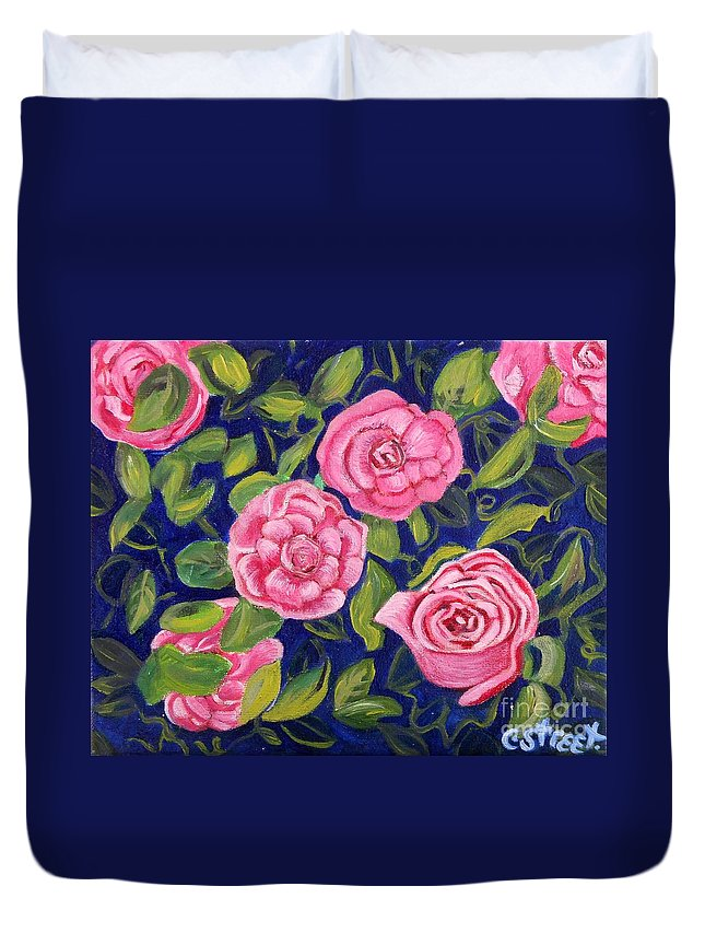 Roses Duvet Cover featuring the painting Bed Of Roses by Caroline Street