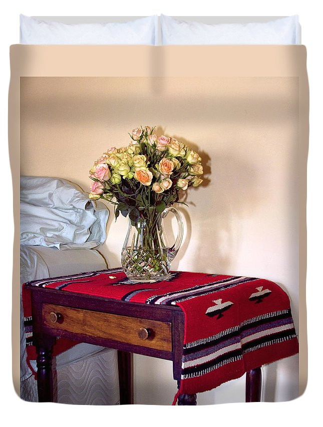 Still Life Duvet Cover featuring the photograph Bedside Desert Roses Palm Springs by William Dey