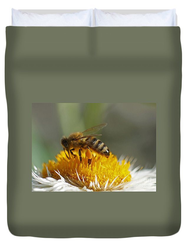 Flora Duvet Cover featuring the photograph Bee At Work by Rudi Prott
