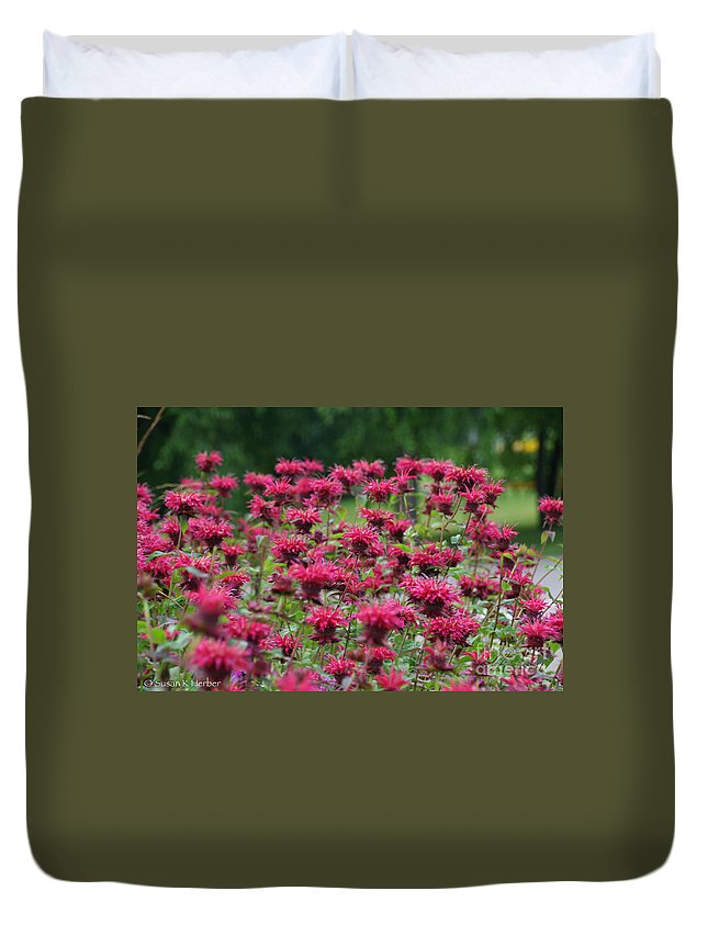 Flower Duvet Cover featuring the photograph Bee Balm Bounty by Susan Herber