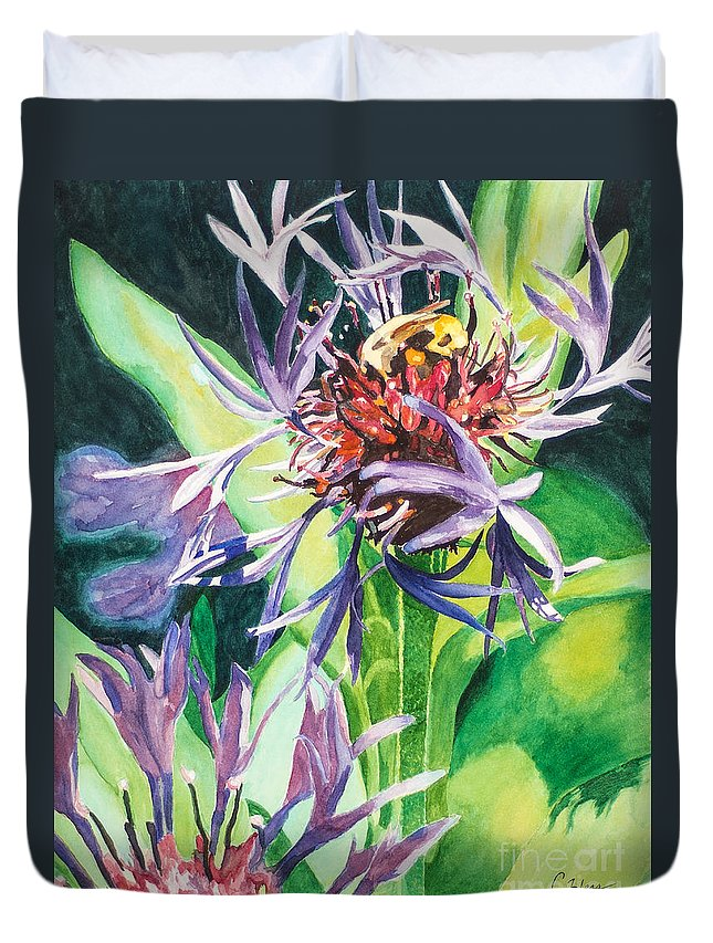 Purple Flower Duvet Cover featuring the painting Bee Balm by Catherine Hess