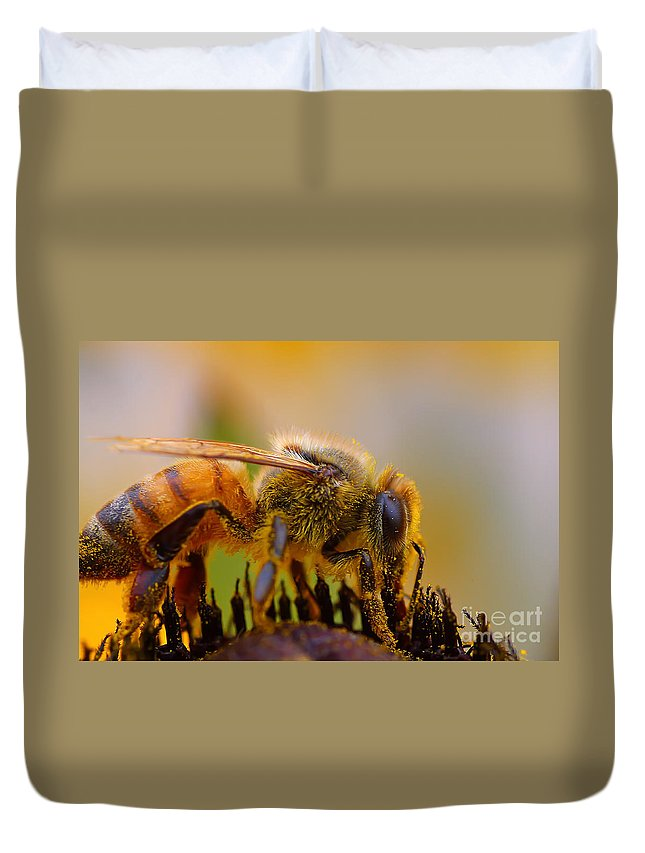 Pollen Duvet Cover featuring the photograph Bee Covered In Pollen by Nikki Vig