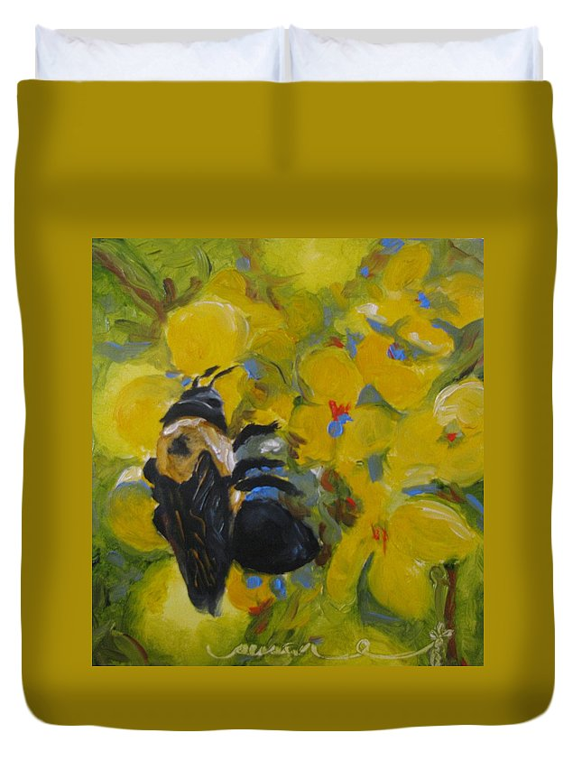 Bumble Duvet Cover featuring the painting Bee-havin' by Susan Elizabeth Jones