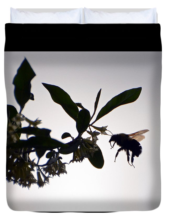 Bee Duvet Cover featuring the photograph Bee In Flight by Kerri Farley
