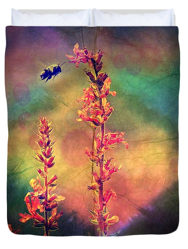 Burgundy Duvet Cover featuring the photograph Bee N Wildflowers Diamond Earth Tones by Christina Shaskus